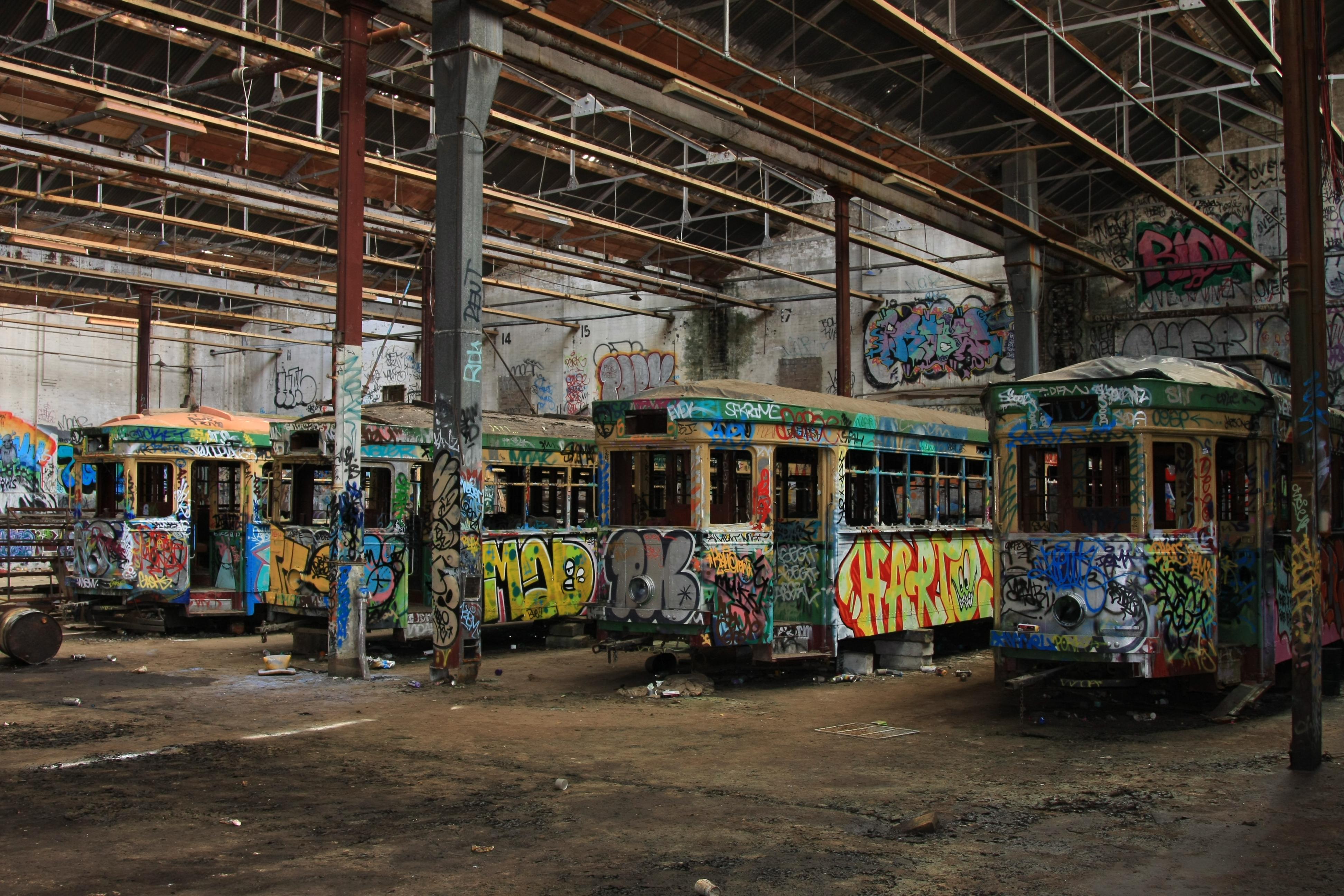 File:Sydney trams vandalised and forgotten.JPG