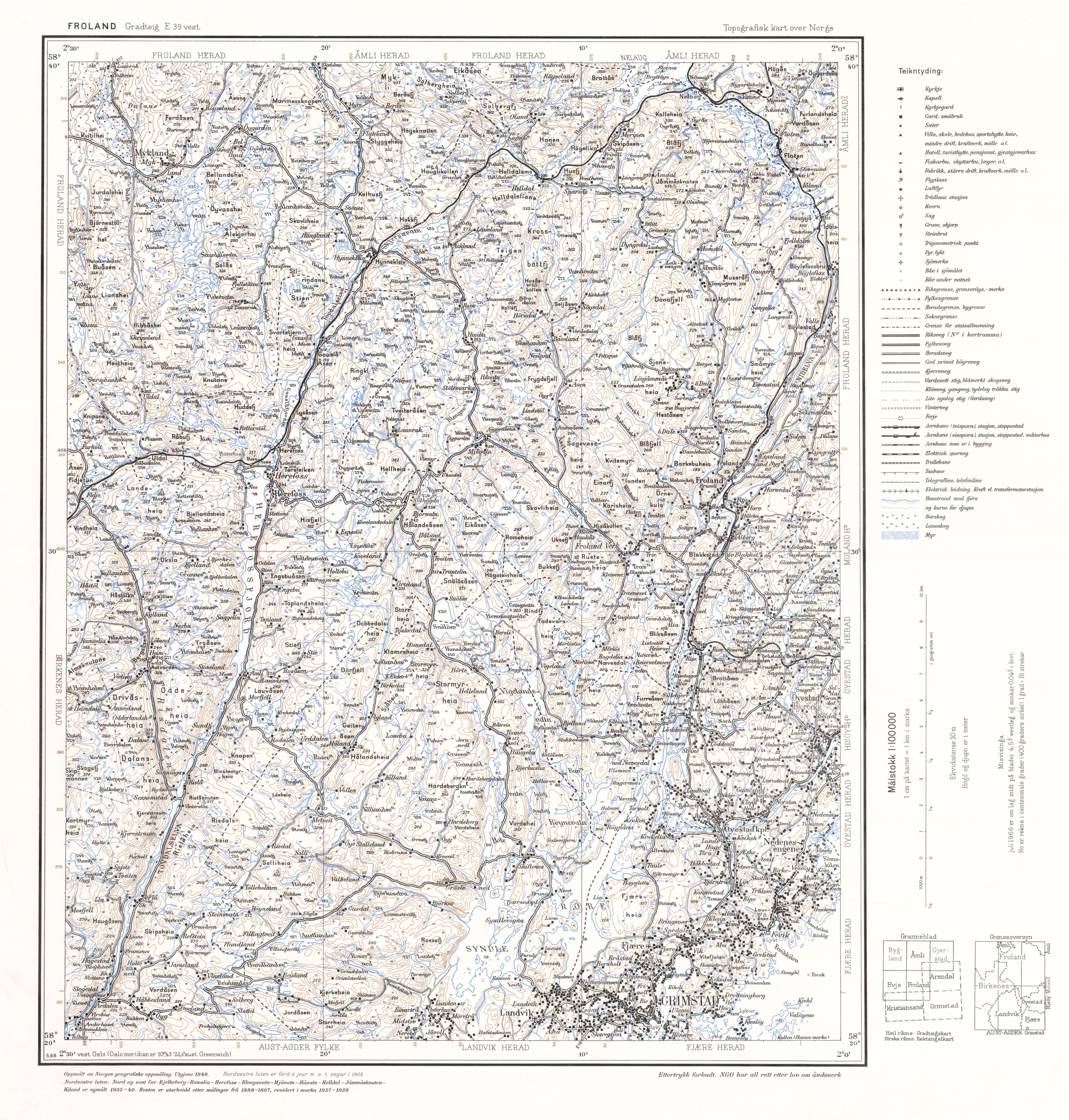 FileTopographic Map Of Norway E Vest Froland Jpg - Norway map fylke