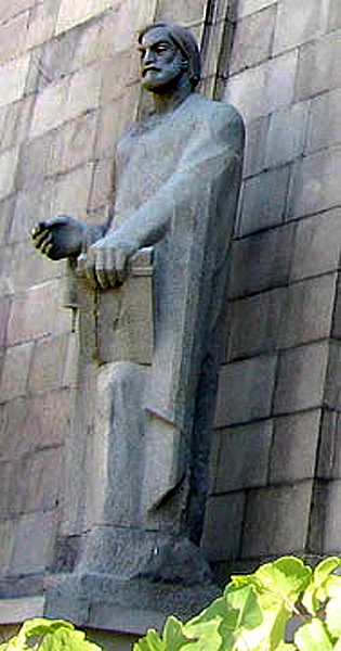 Statue of Toros Roslin in front of the entrance of the Matenadaran in Yerevan
