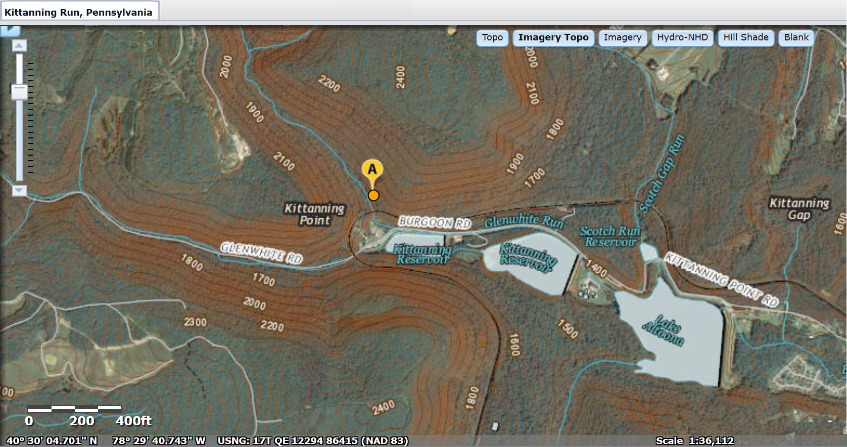 File:USGS National Map viewer showing Kittanning Run, Pennsylvania ...