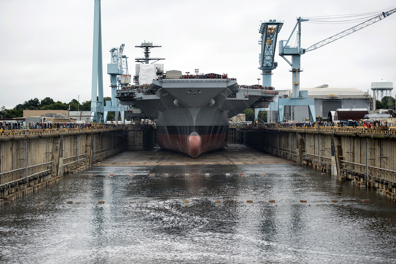 File Uss Gerald R Ford Dry Dock Flooding 20131011 Jpg