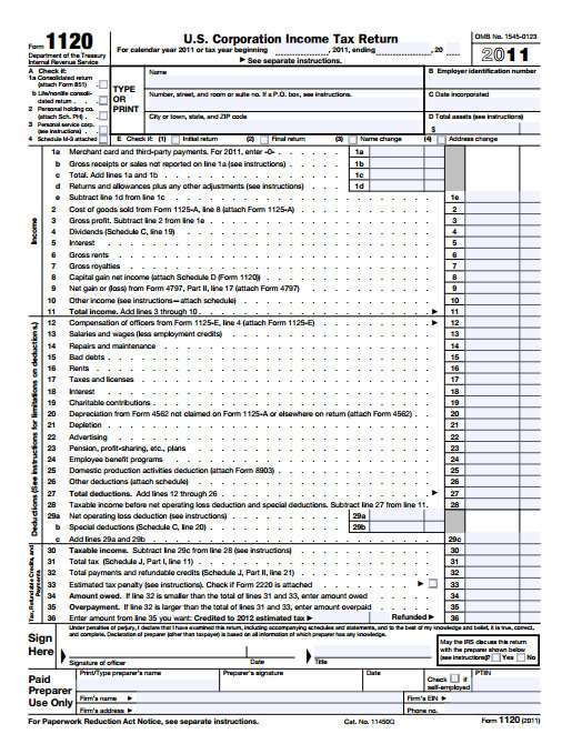 File:US Corporation Income Tax Return 2011 form 1120.jpg ...