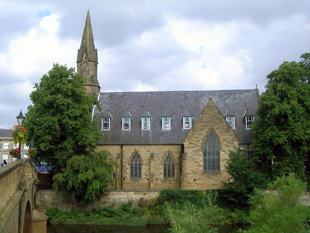 United Reformed Church in Morpeth from across the Wansbeck River in Northumberland, United Kingdom
