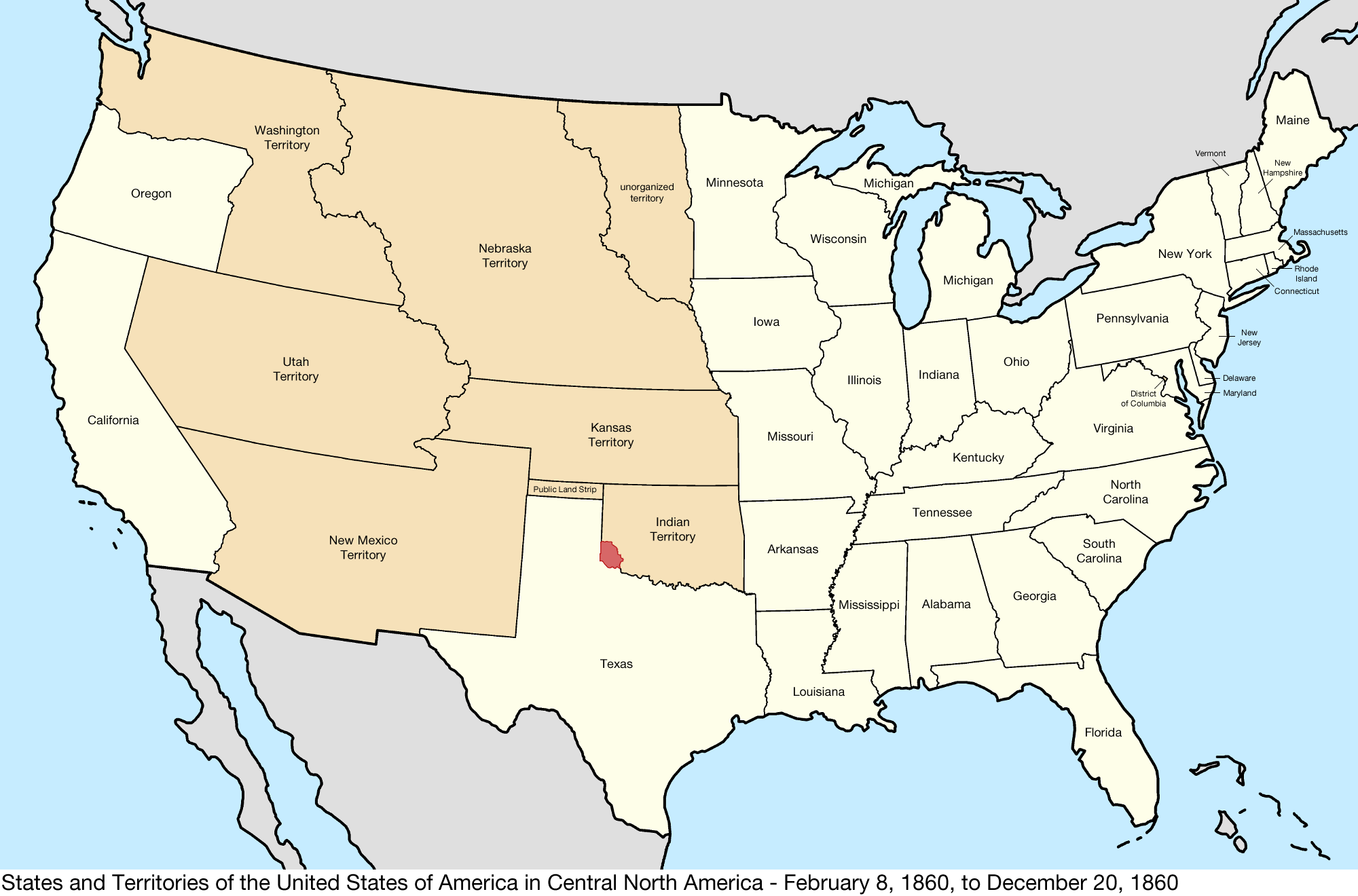 Map Of The Us - 1860 us map