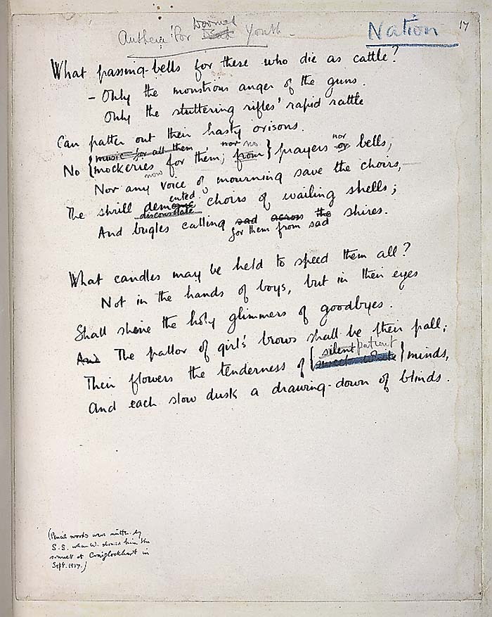 Wilfred Owen Anthem For Doomed Youth Analysis Meaning
