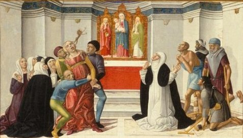 'St. Catherine of Siena Exorcising a Possessed Woman', painting by Girolamo di Benvenuto