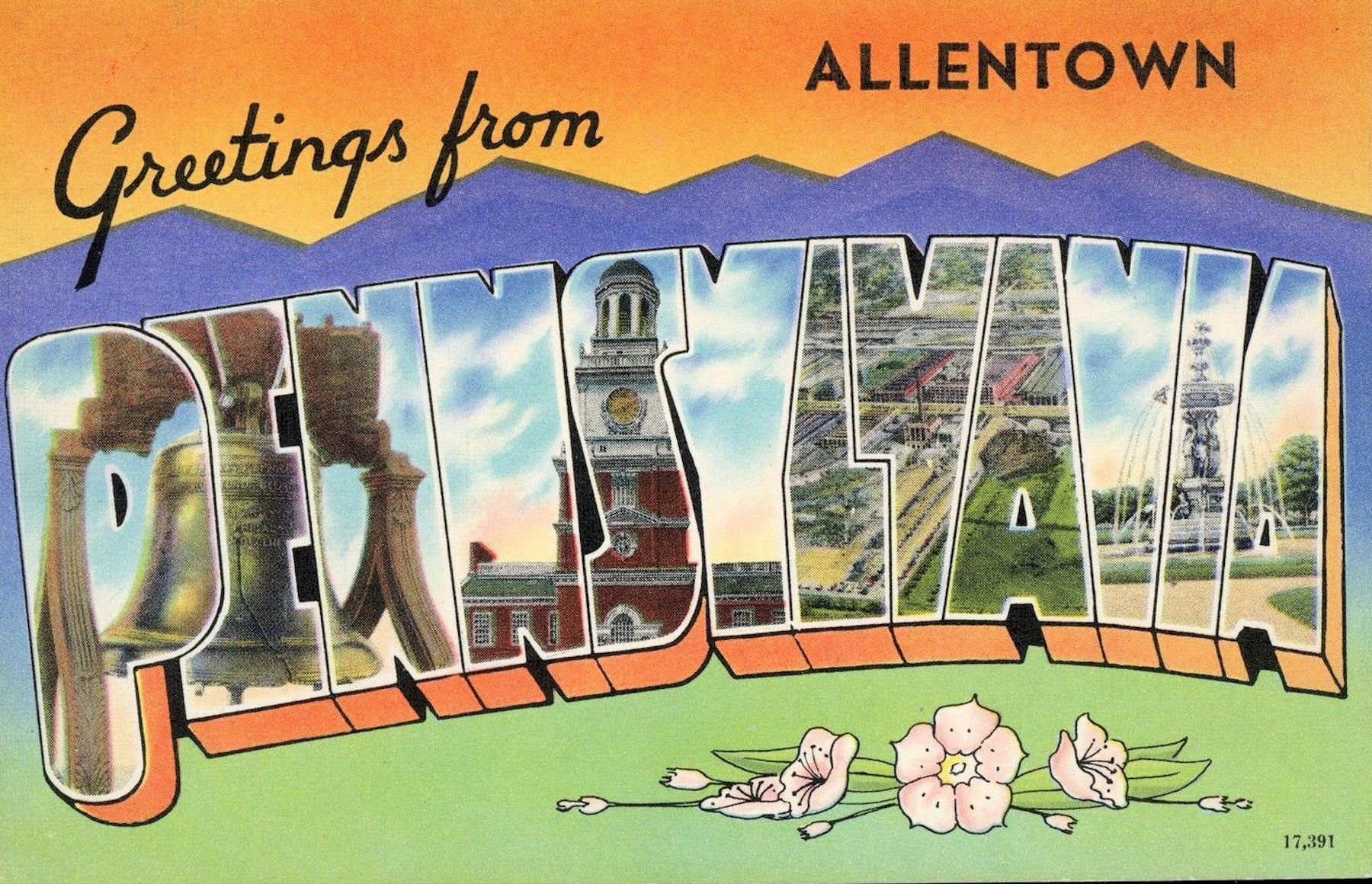 File1949 Greetings From 4 Promotional Postcard Allentown Pag