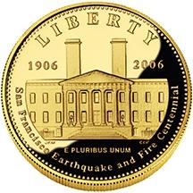 2006 San Fran Gold $5 prf obv
