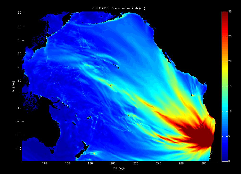 Diese Projektion des USGS verdeutlicht die erwartete Amplitude des Tsunamis.