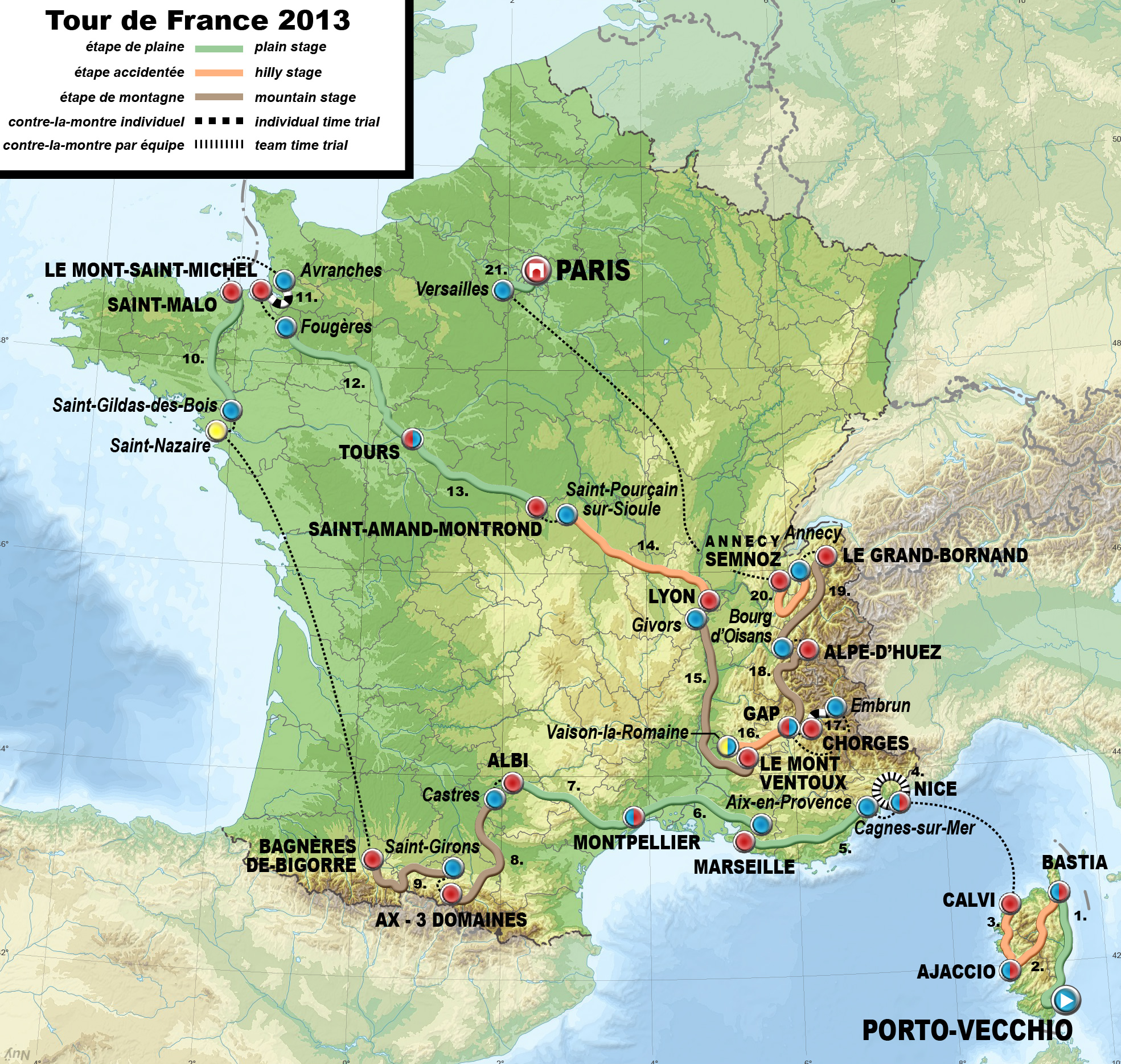 Description 2013 tour de france map