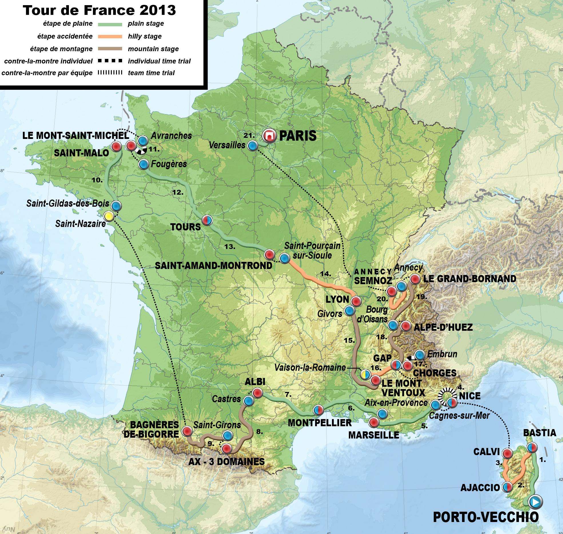 Description 2013 tour de france map