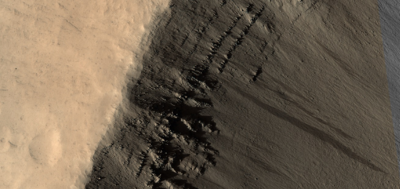 Close, color view of layers near top of crater, as seen by HiRISE under HiWish program