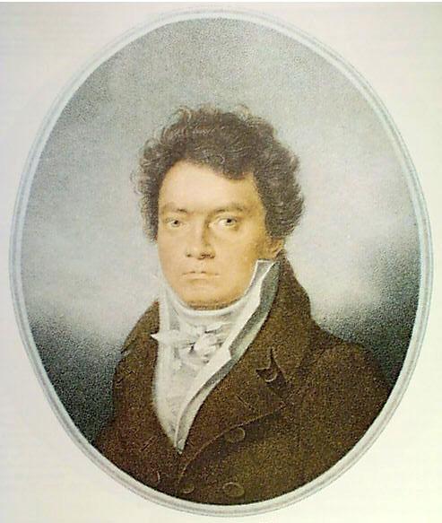 Beethoven en 1814. Retrato de Louis-René L'étronne.