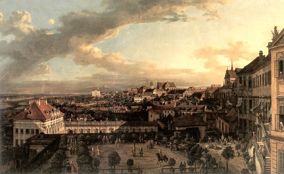 > Vue sur Varsovie depuis le chateau Royal dans une peinture de Bellotto/Canaletto.