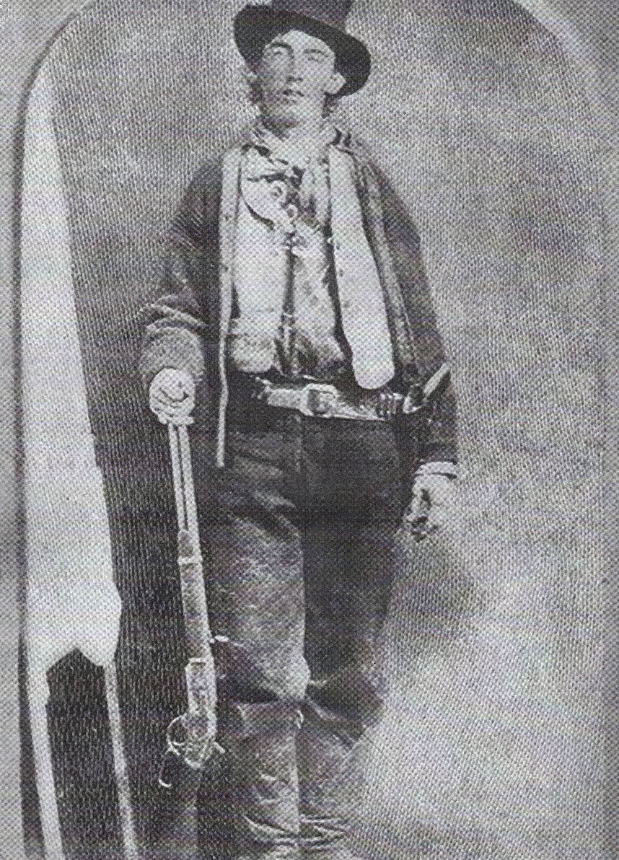 A vintage photograph of outlaw Billy the Kid