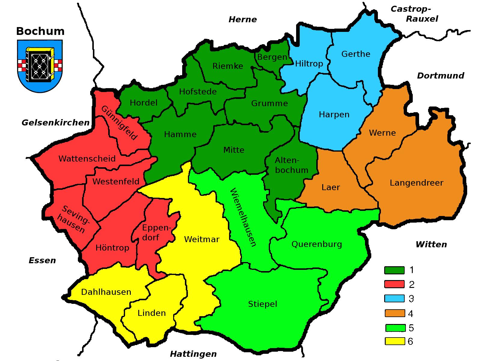 Bochum Karte.Stadtgliederung Bochums Wikipedia