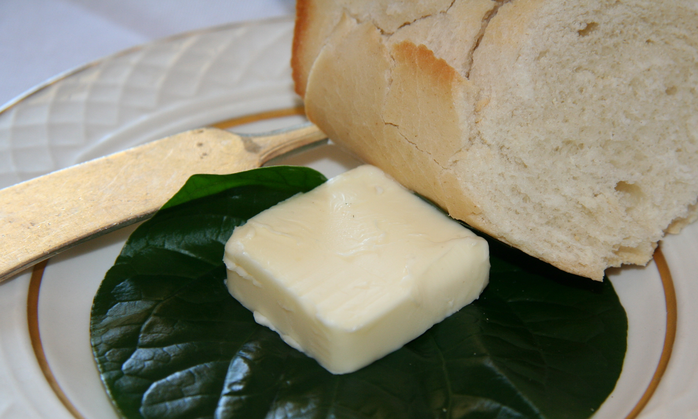 Butter is often served for spreading on bread with a butter knife.