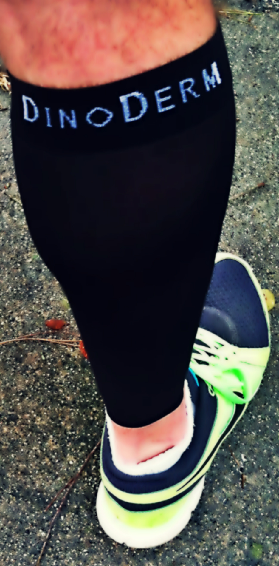 Compression sleeves in action.
