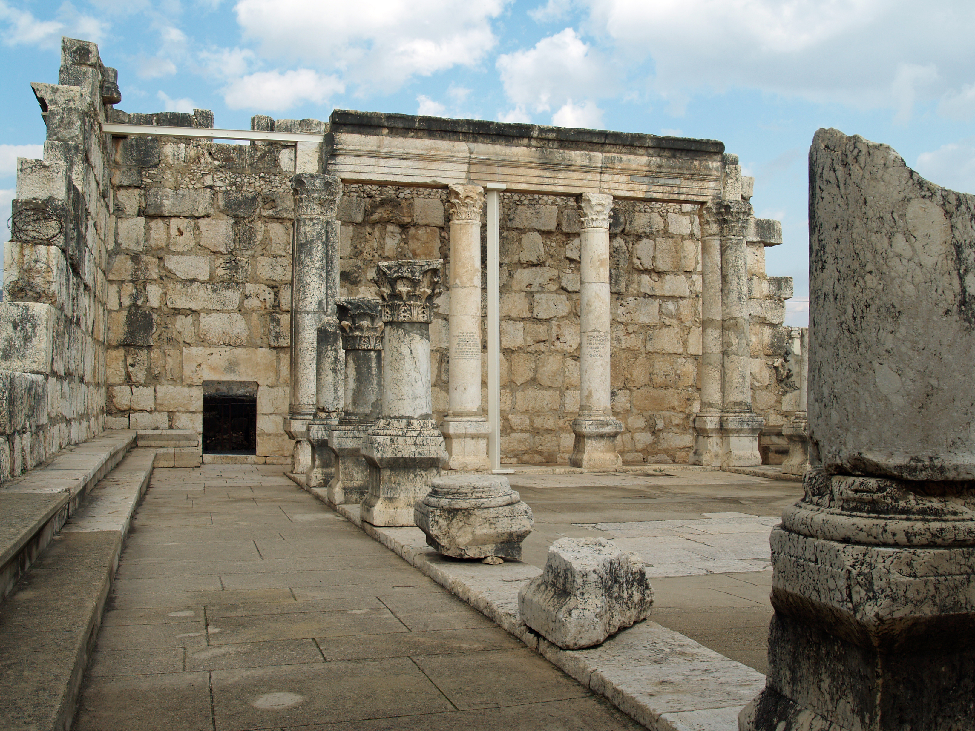 Ruins of the synagogue in Capernaum.
