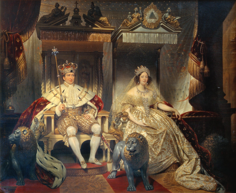 File:Christian VIII og Caroline Amalie i salvingsdragt.jpg