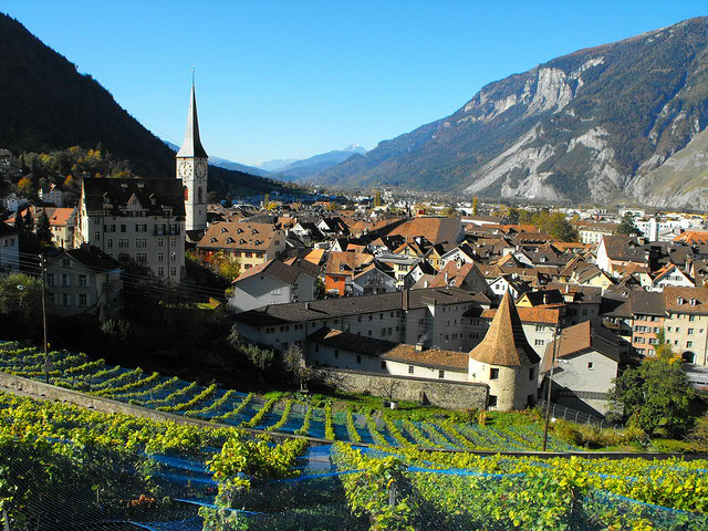 Chur, looking upstream, to the west