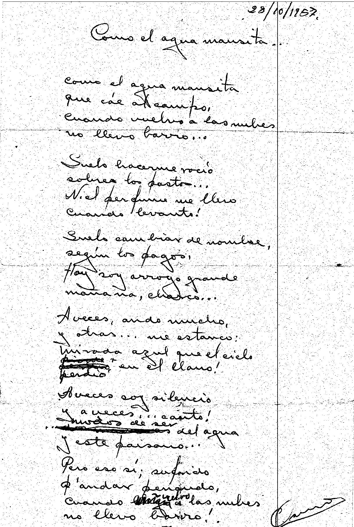 """Facsimil del original de puño y letra, fechado y firmado por Osiris del poema """"Como el agua mansita"""""""