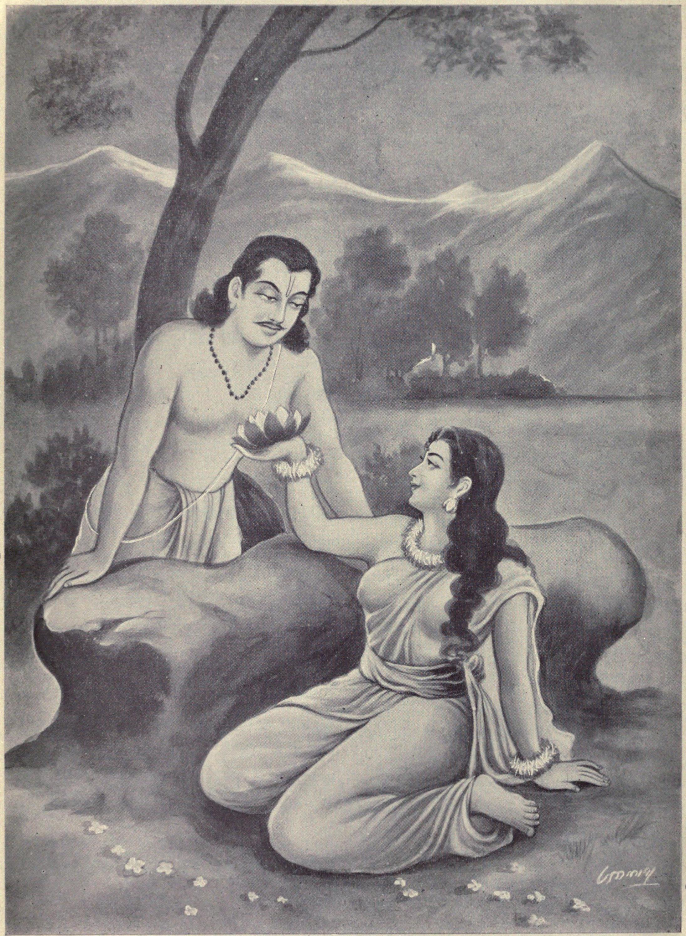 http://upload.wikimedia.org/wikipedia/commons/c/c2/Draupadi_showing_the_Sougandhika_flowers_to_Bhima.jpg