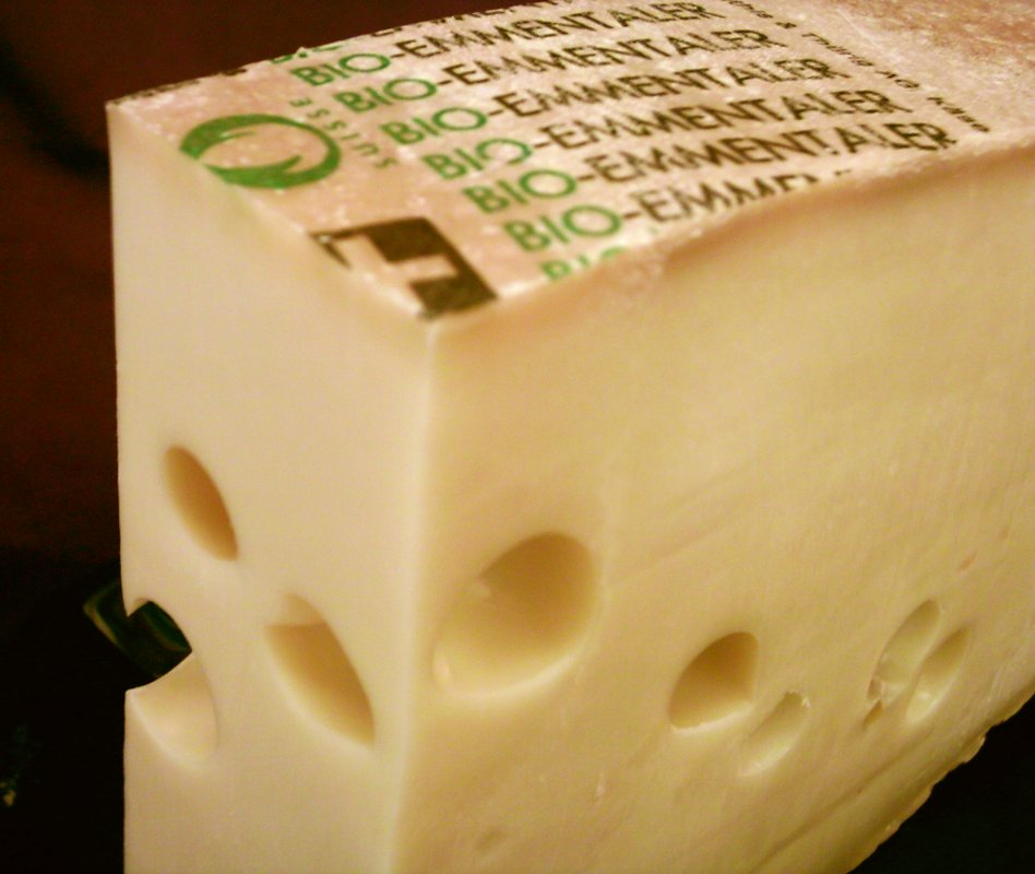 Emmentaler Switzerland PDO Cheese, image by myself (Dominik Hundhammer - User:Zerohund, 25. May 2004)