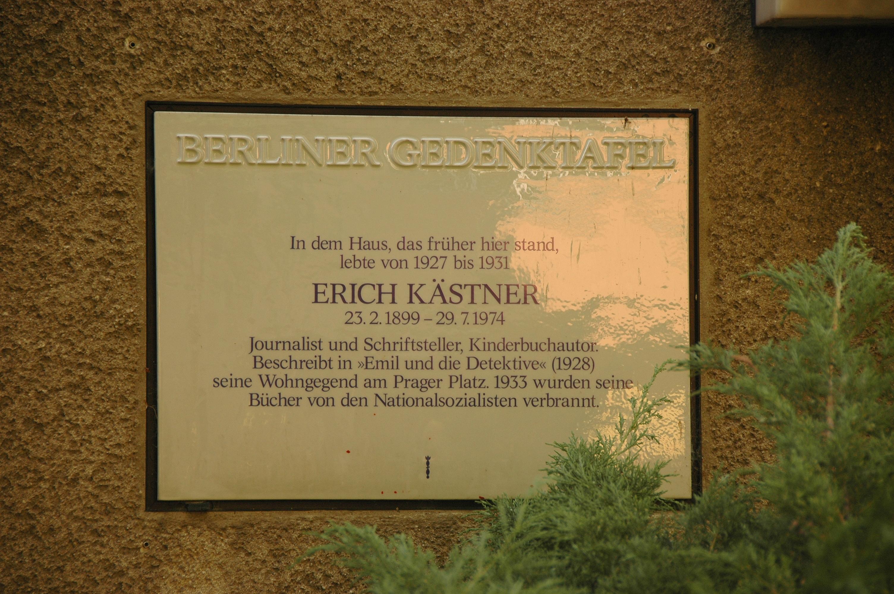 berliner gedenktafel am haus prager strae 6 nahe der wilmersdorfer wohnung - Erich Kastner Lebenslauf