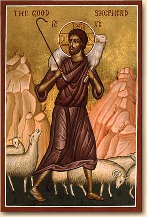 Icon of the Good Shepherd. Public Domain.