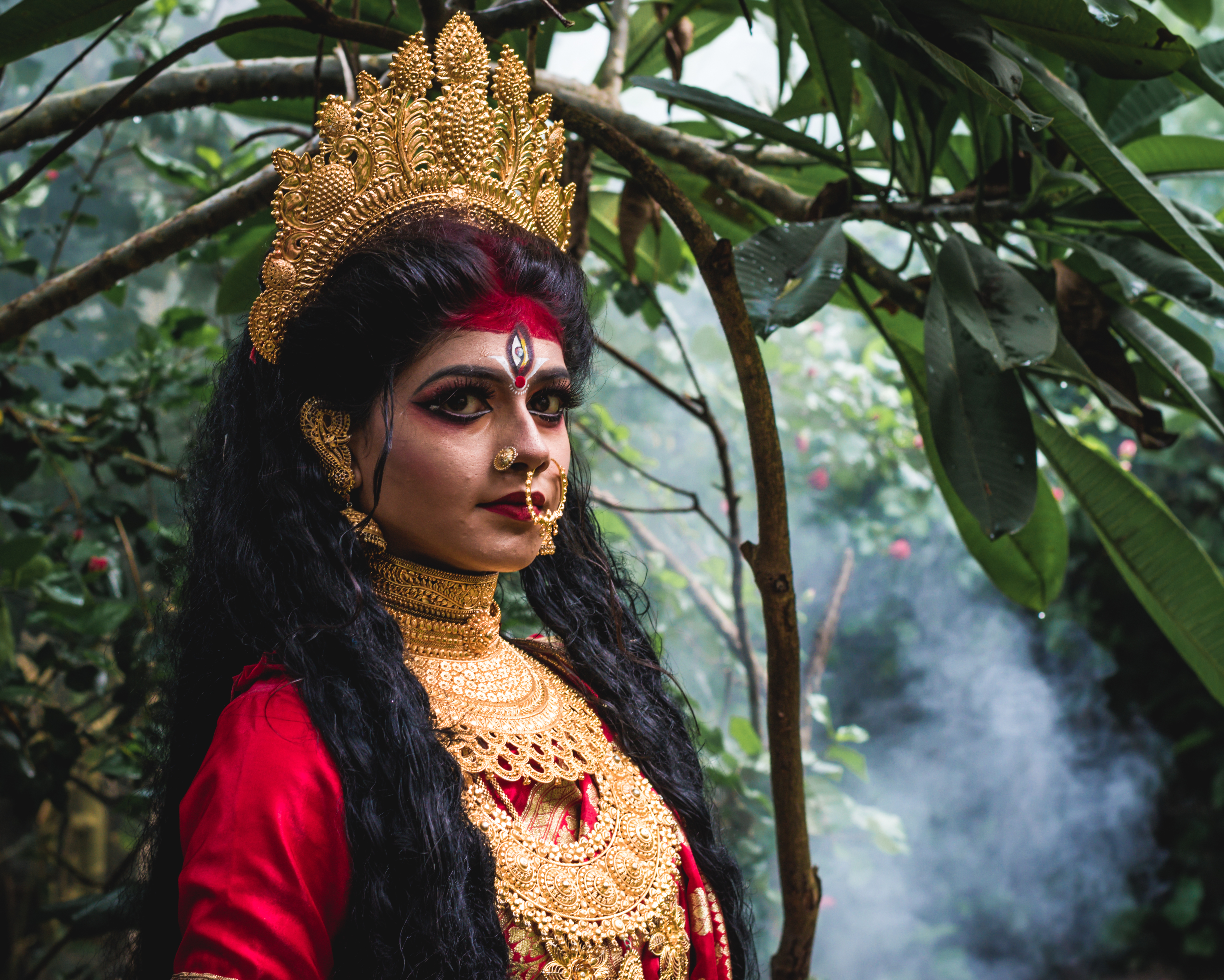 """I, the copyright holder of this work, hereby publish it under the following license: English A makeup of a Hindu goddess """"Durga"""""""