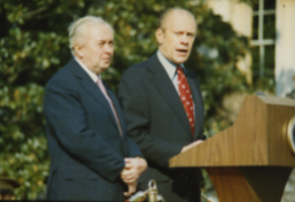 Wilson and Ford in the White House Rose Garden