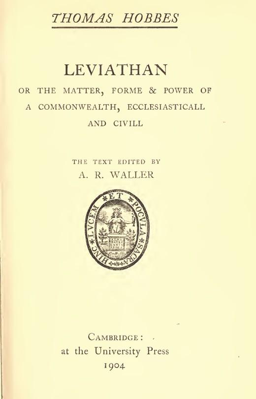 Leviathan, Thomas Hobbes, obra clásica de Filosofía del Derecho
