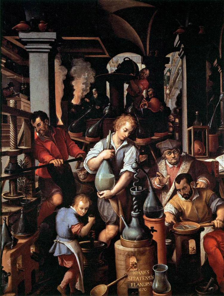 Il laboratorio dell'alchimista, Giovanni Stradano, studiolo di Francesco I