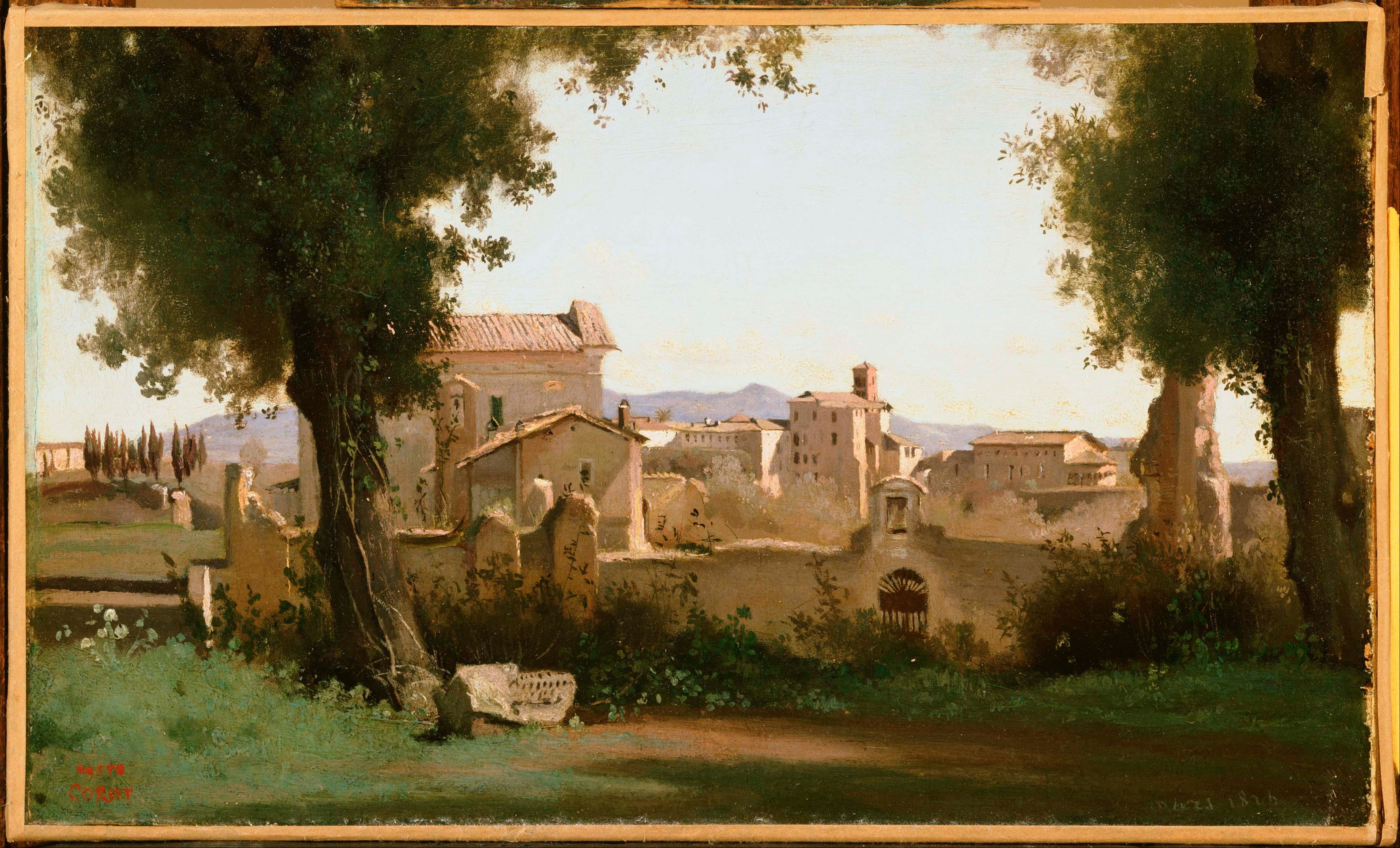 File:Jean-Baptiste-Camille Corot - View from the Farnese Gardens ...