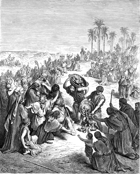 오천 명을 먹이신 기적 (귀스타브 도레, Gustave Dore, 1865년)