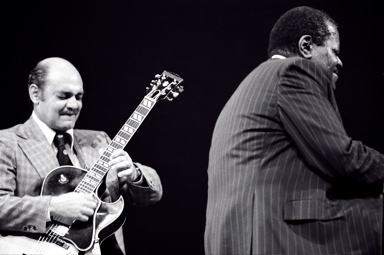 Joe Pass and Oscar Peterson at Eastman Theatre Rochester, New York, in 1977 Joe Pass & Oscar Peterson.jpg