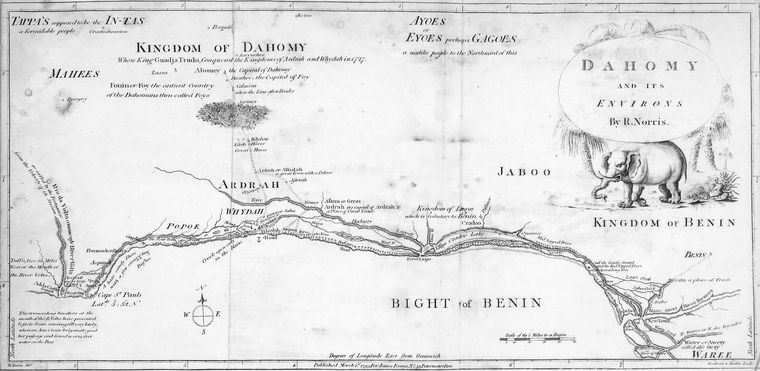 Mapa de Dahomey y de su entorno, por R. Norris (1793).
