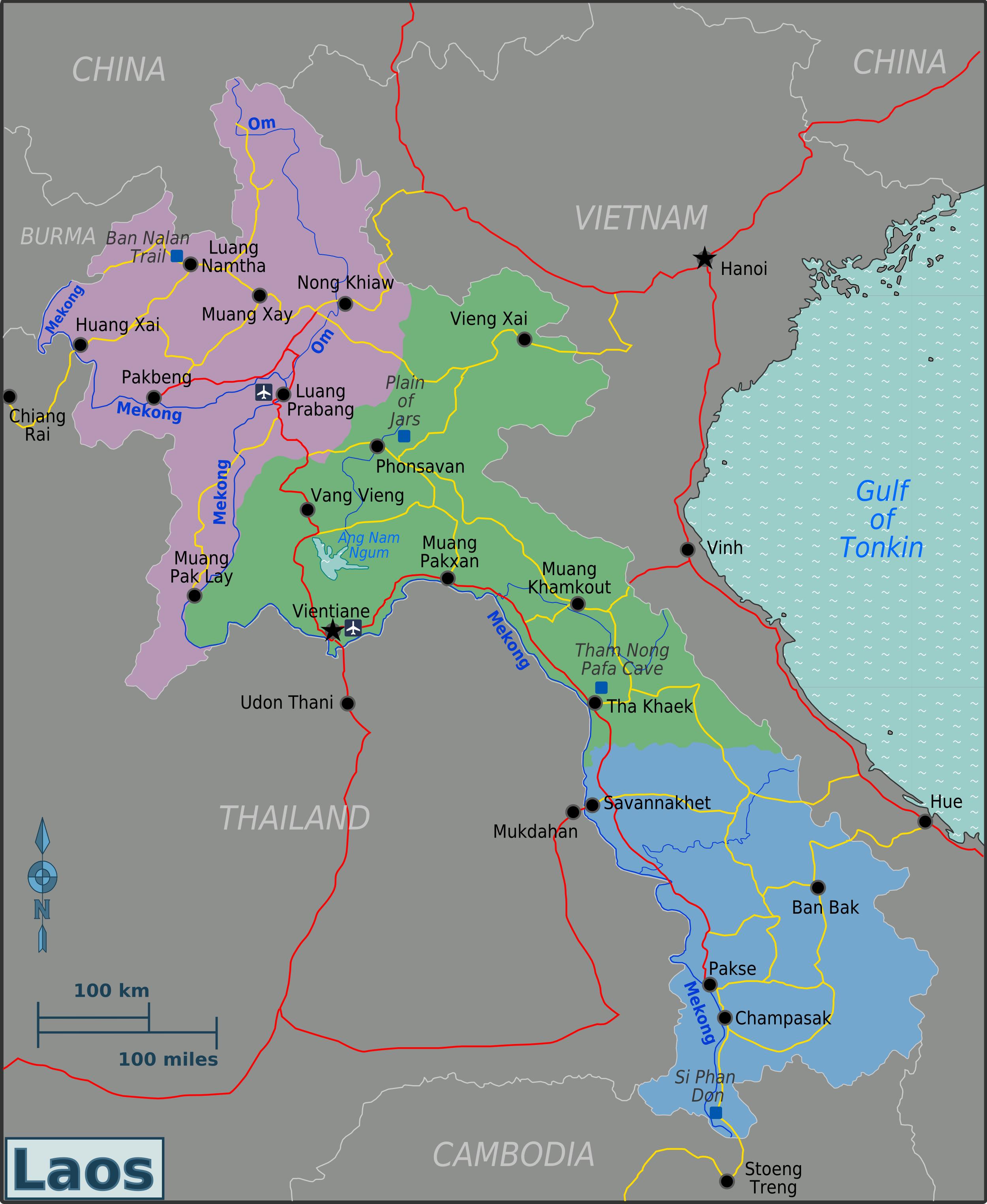 Laos: Laos Karte Geschichte