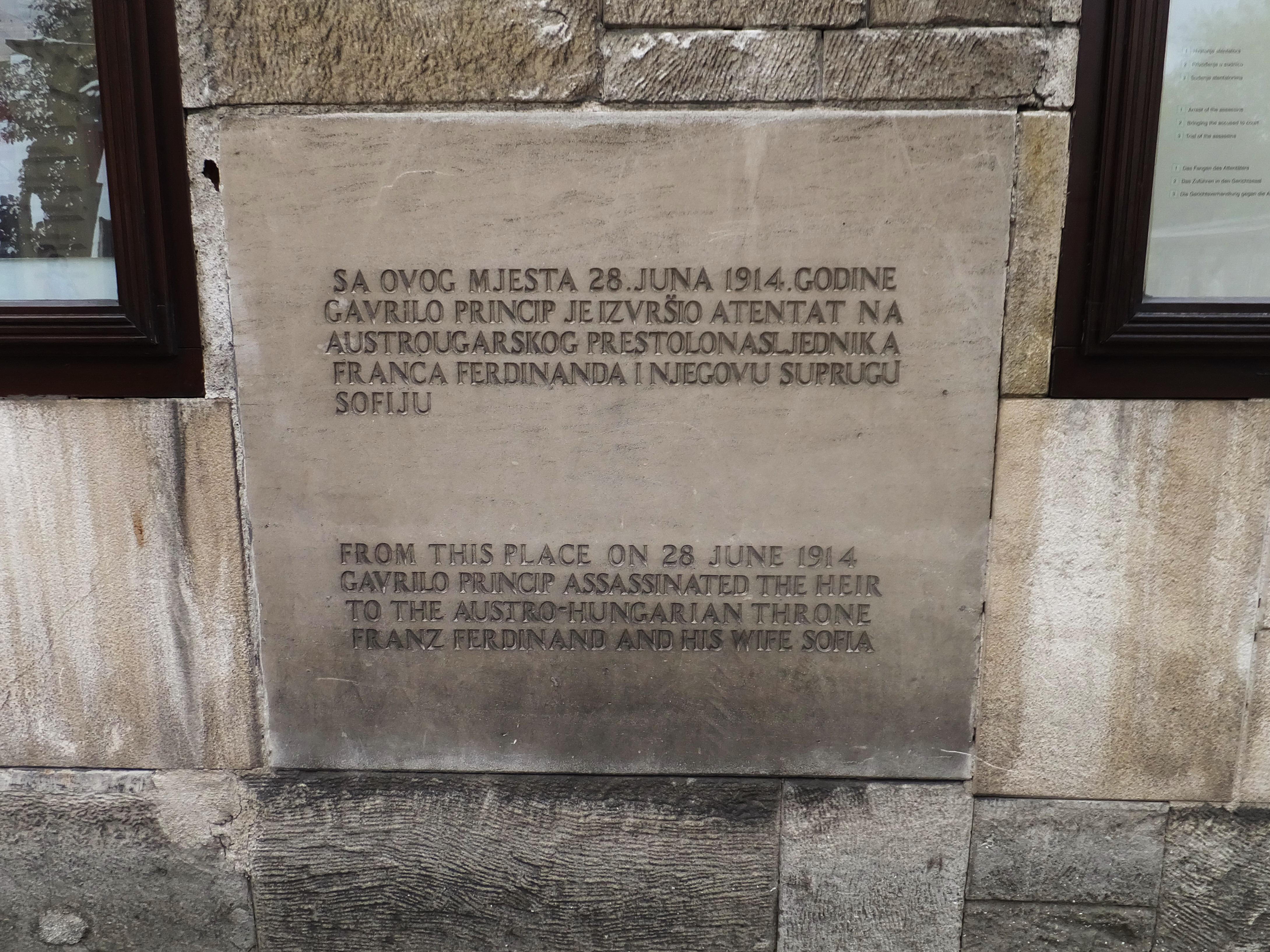 plaque memorializing franz ferdinand assassination