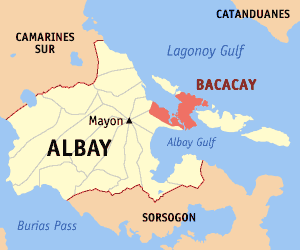 Map of Albay showing the location of Bacacay
