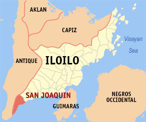 Map of Iloilo showing the location of San Joaquin