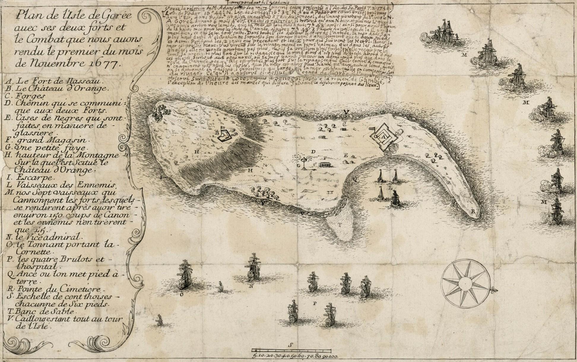 File:Plan du combat de l'île de Gorée en 1677.jpg