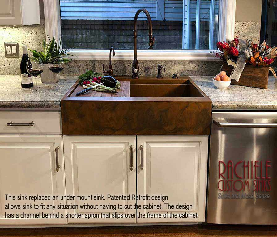 File:Retrofit Copper Farm Sink replaces outdated under mount ...