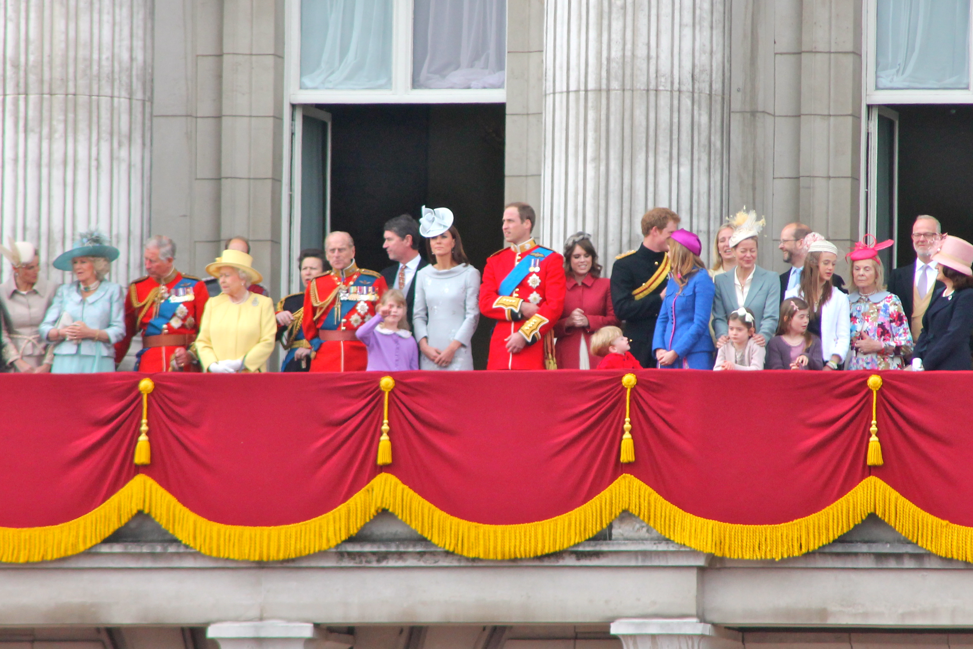 Royal family on the balcony for English balcony