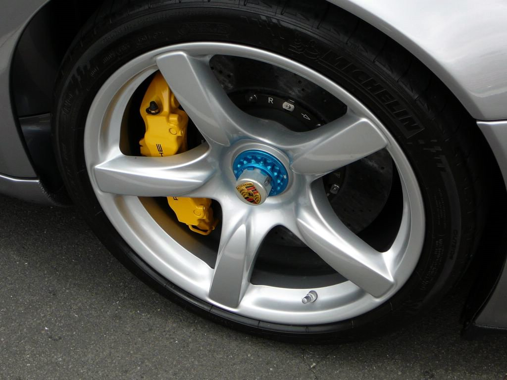 Magnesium alloy wheel on a Porsche Carrera GT from Wiki Commons - used salvage discount car parts