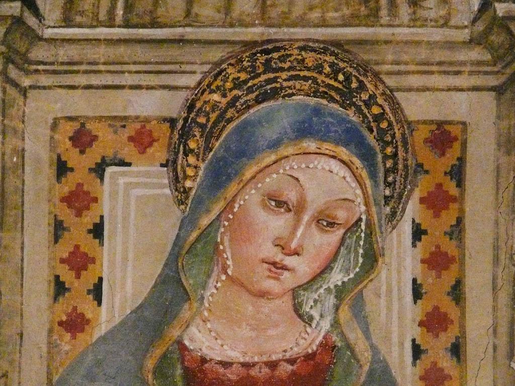 Chiesa di Santa Maria Maggiore, affresco Madonna col bambino e santi, particolare