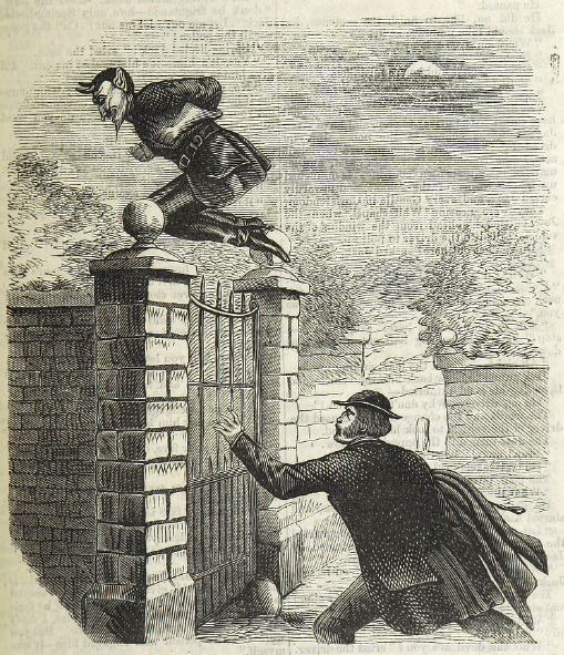 An image of Spring-heeled Jack, bounding away from a would-be captor.