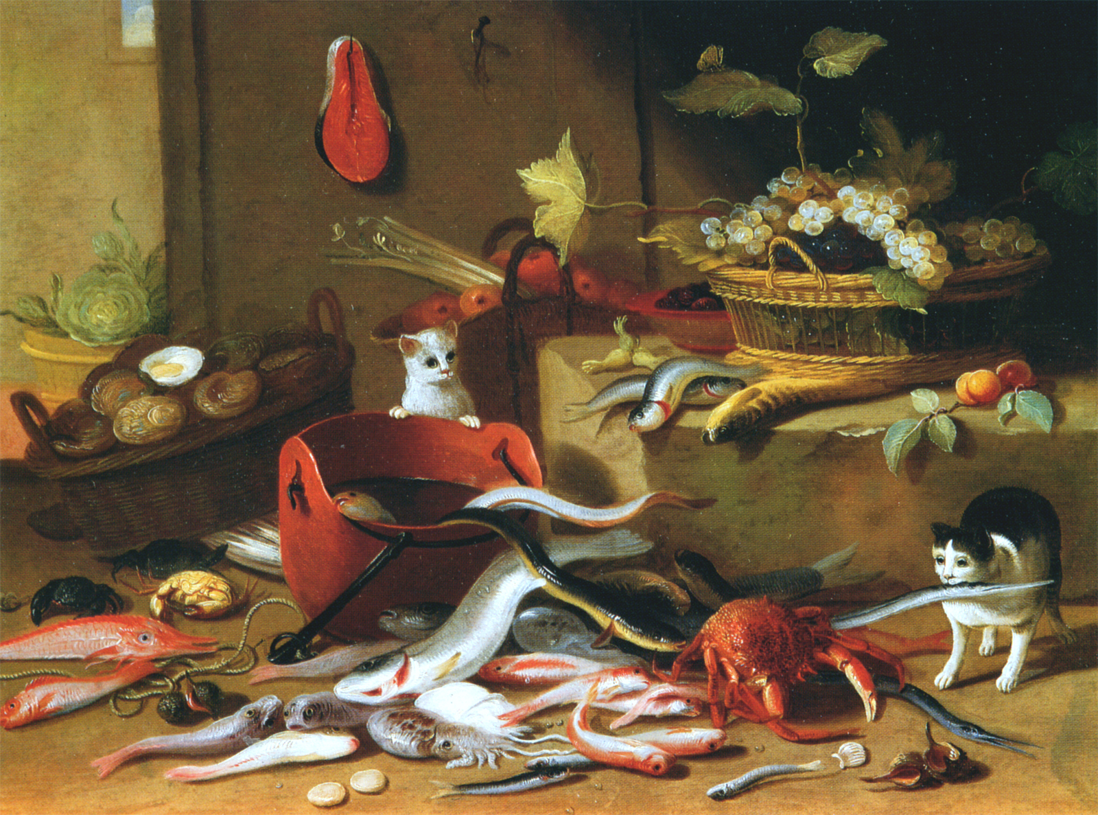 File:Studio of Jan van Kessel I - Cats with still life.jpg ...