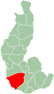 Map of former Toliara Province showing the location of Ampanihy (red).